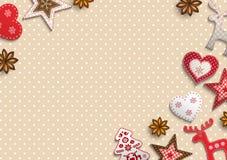 Julbakgrund, den lilla scandinavianen utformade garneringar som ligger på pricken mönstrade bakgrunden, illustration vektor illustrationer