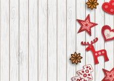 Julbakgrund, den lilla scandinavianen utformade garneringar som ligger på träskrivbordet, illustration stock illustrationer