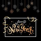 Julbakgrund för feriehälsningkort Guld- kalligrafi som märker lyckligt nytt år royaltyfri illustrationer