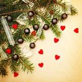 Julbakgrund för inbjudan- och hälsningkort Royaltyfri Fotografi