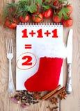 Julbakgrund för menykort Tomater, vitlök, persilja och kryddor på träbakgrunden med utrymme för text Arkivfoto