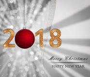 Julbakgrund för nytt år, glansigt kort, illustration med guld- 2018 nummer, röd struntsak vektor illustrationer