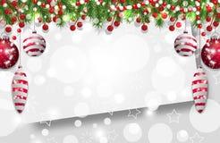 Julbakgrund, garnering för nytt år med granfilialer, pärlor och järnekbär och röda struntsaker vektor stock illustrationer