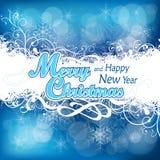 Julbakgrund i blått Royaltyfri Fotografi