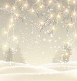 Julbakgrund i sepiasignalen, vinterlandskap med små elljus, illustration Royaltyfria Bilder