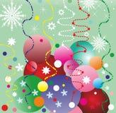 Julbakgrund med ballonger och konfettiar Royaltyfri Foto