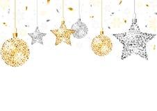 Julbakgrund med blänker prydnader arkivfoto