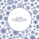 Julbakgrund med blåa snowflakes Arkivbild