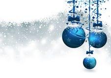 Julbakgrund med blåa struntsaker stock illustrationer