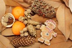 Julbakgrund med blad och prydnader Royaltyfria Bilder