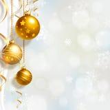 Julbakgrund med bollar Royaltyfria Bilder