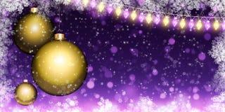 Julbakgrund med bollar och girlanden royaltyfri bild