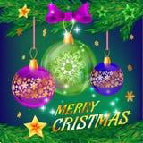 Julbakgrund med bollar Vektormall för feriekort Royaltyfria Bilder