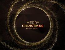 Julbakgrund med den guld- magiska illustrationen för vektor för stjärnadamm Arkivfoton