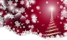 Julbakgrund med den oskarpa släta glödande abstrakta julgranen för vågor och snöflingan royaltyfri illustrationer