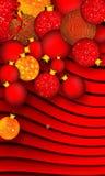 Julbakgrund med den röda och guld- prydnaden och band på röd skuggad bakgrund royaltyfri foto