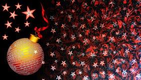 Julbakgrund med den röda och guld- prydnaden, stjärnan och bandet på svart blänker bakgrund arkivfoton