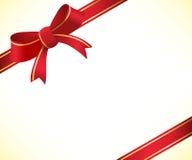 Julbakgrund med den röda pilbågen och bandet stock illustrationer