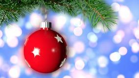 Julbakgrund med den trevliga tolkningen för boll 3D Arkivfoto