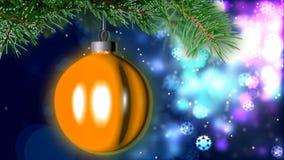 Julbakgrund med den trevliga tolkningen för boll 3D Royaltyfria Bilder