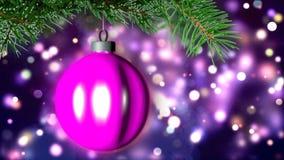 Julbakgrund med den trevliga tolkningen för boll 3D Arkivbild