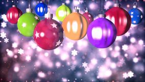 Julbakgrund med den trevliga tolkningen för bollar 3D Royaltyfria Bilder