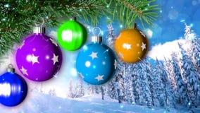 Julbakgrund med den trevliga tolkningen för bollar 3D Arkivbild