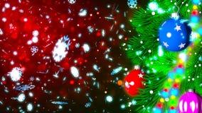 Julbakgrund med den trevliga tolkningen för bollar 3D Arkivfoton