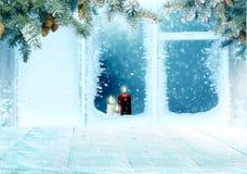 Julbakgrund med det frostade fönstret med Royaltyfri Bild