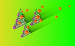 Julbakgrund med det gröna trädet och prydnader från träd klumpa ihop sig rött för nya år Vektorillustration för design och decora stock illustrationer