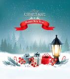 Julbakgrund med en lykta och färgrika askar för en gåva vektor illustrationer