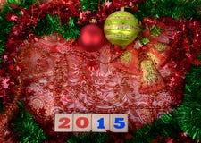 Julbakgrund med en röd prydnad Royaltyfria Bilder