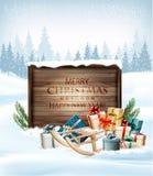 Julbakgrund med ett retro trätecken stock illustrationer