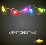 Julbakgrund med färgrika lampor vektor illustrationer