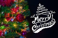 Julbakgrund med festlig garnering och text arkivfoto