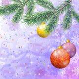 Julbakgrund med filialer och bollar Royaltyfria Foton