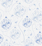 Julbakgrund med glitter och dekorativa blåa bollar Royaltyfria Bilder
