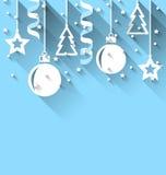 Julbakgrund med gran, bollar, stjärnor, banderoll, moderiktig fl Royaltyfri Foto