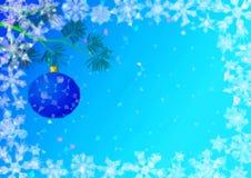 Julbakgrund med gran och bollar Royaltyfri Fotografi