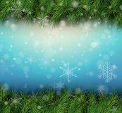 Julbakgrund med granfilialer Fotografering för Bildbyråer
