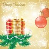 Julbakgrund med granfilialer Royaltyfria Foton