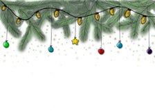 Julbakgrund med granfilialer Royaltyfri Bild