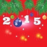 Julbakgrund med granfilialer, fyrverkerier ingen text Royaltyfria Bilder
