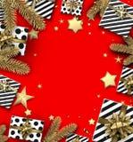 Julbakgrund med granfilialer och gåvor Royaltyfria Bilder