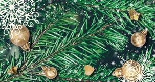 Julbakgrund med granfilialer, snöflingor och guld- bollar Textur för nytt år för bästa sikt royaltyfri illustrationer