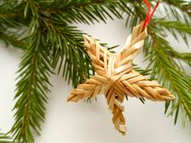 Julbakgrund med granträdfilialen, stjärna arkivfoto