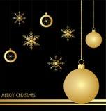 Julbakgrund med guld- garneringar Arkivfoto