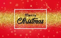 Julbakgrund med guld- konfettier royaltyfri illustrationer