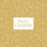Julbakgrund med hand drog beståndsdelar Arkivfoton