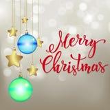 Julbakgrund med handskriven text Royaltyfri Fotografi